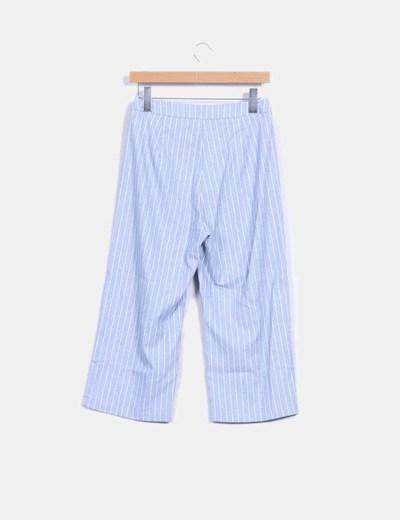 Pantalon culotte azul de rayas