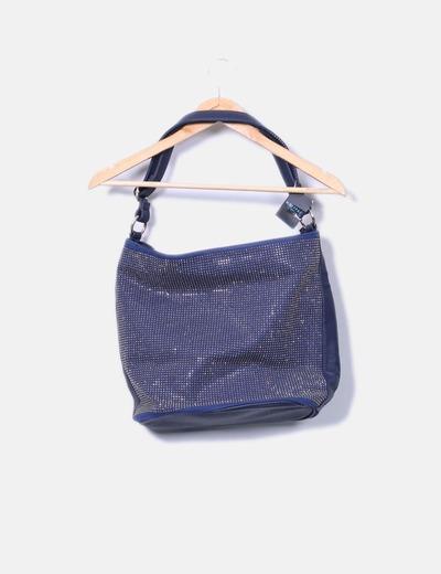 Bolso azul con tachas brillantes