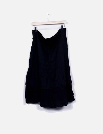 Falda midi negra calada