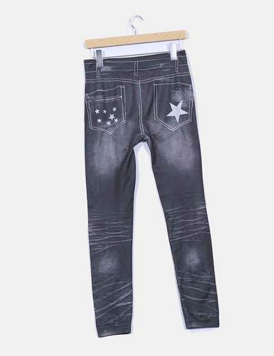 Leggings print jeans gris