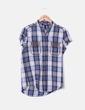 Camisa de cuadros azules con tachas Mango