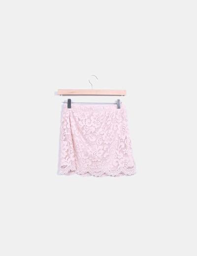 Mini falda crochet rosa palo