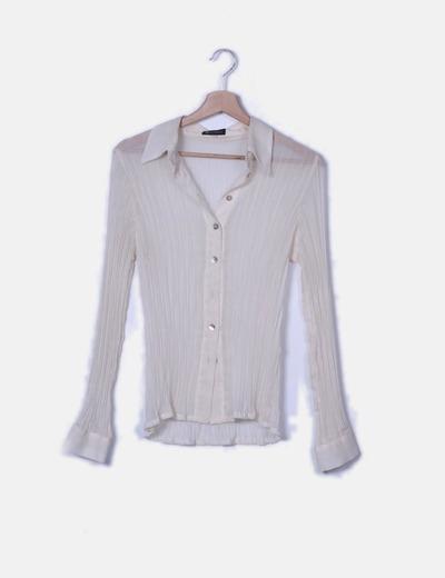 Camisa beige transparente de gasa
