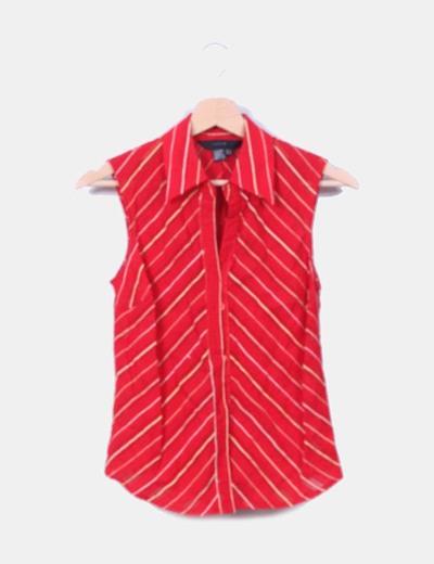 Blusa roja y beige texturizada Zara
