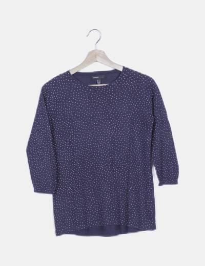Jersey tricot azul moteado