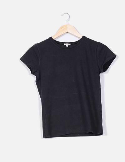 f682fedd03168 Massimo Dutti Camiseta básica negra de manga corta licra (descuento ...