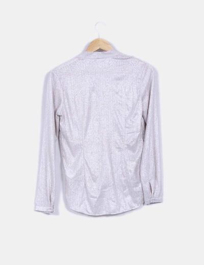 Blusa manga larga texturizada plateada