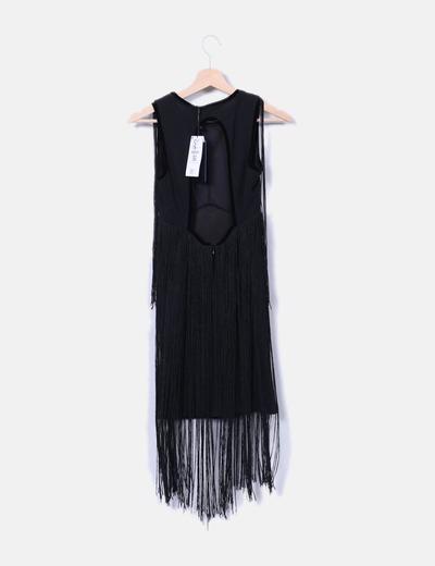 profesional mejor calificado tiendas populares 100% autenticado Vestido negro con flecos