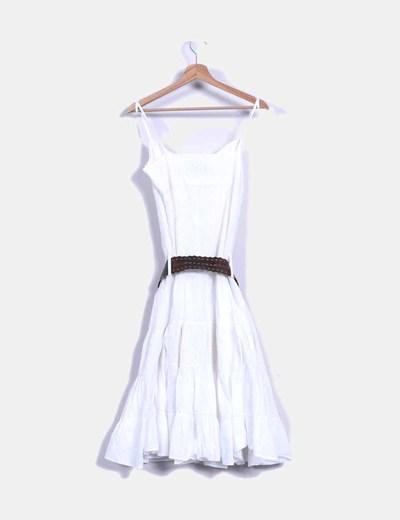 Vestido de tirantes blanco con cinturon