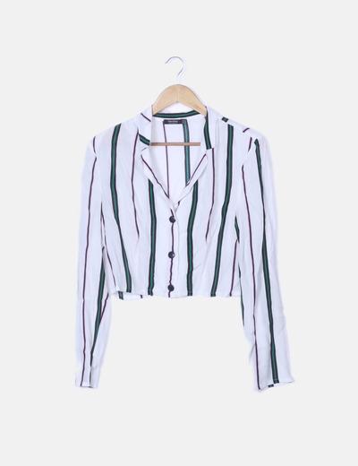 Camisa crop blanca de rayas