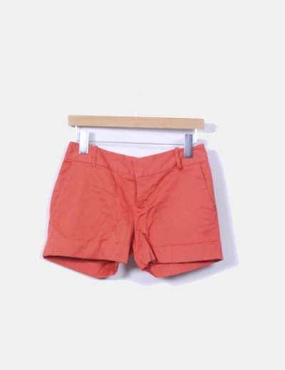 Shorts de pinzas naranja Zara