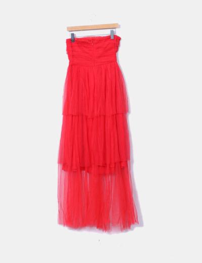 marcas reconocidas elige auténtico Donde comprar Vestido rojo largo de tul