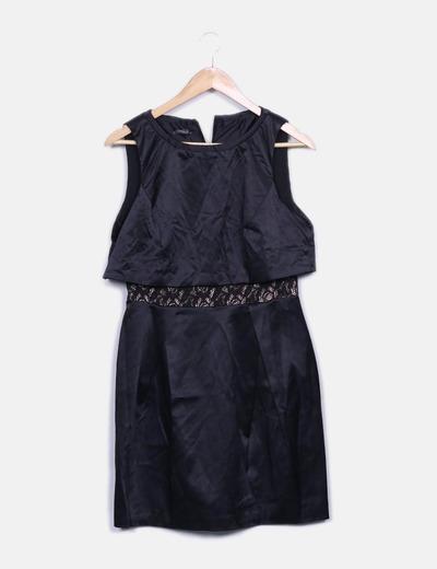 Vestido negro satinado detalle encaje Suiteblanco (Night)