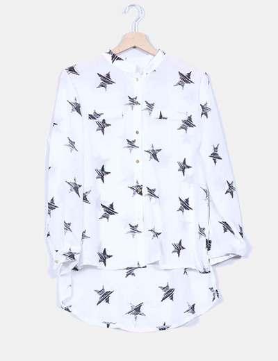 Blusa blanca semitransparente print estrellas NoName