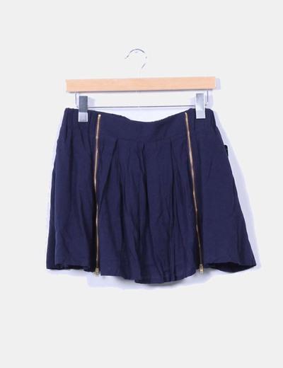 Falda mini azul marino detalle cremalleras Zara