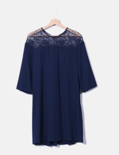 Vestido azul marino combinado encaje Zara