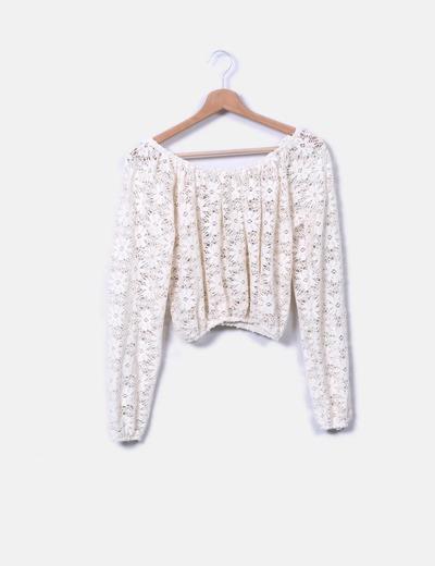 Blusa de encaje blanca Pull&Bear