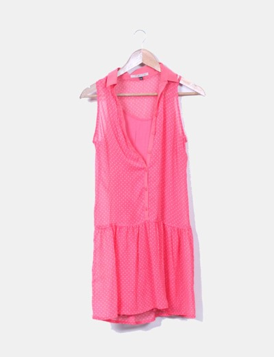 Vestido gasa rosa topos blancos Bershka