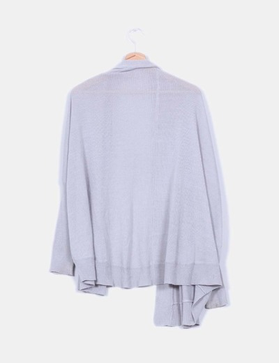 Cardigan tricot gris oversize