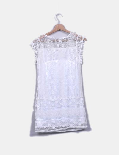 Vestido midi de encaje blanco