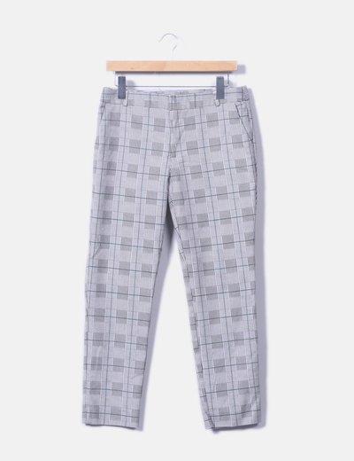 Pantalón chino de cuadros estampado pata de gallo