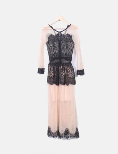 Vestido de malla beige con encaje negro