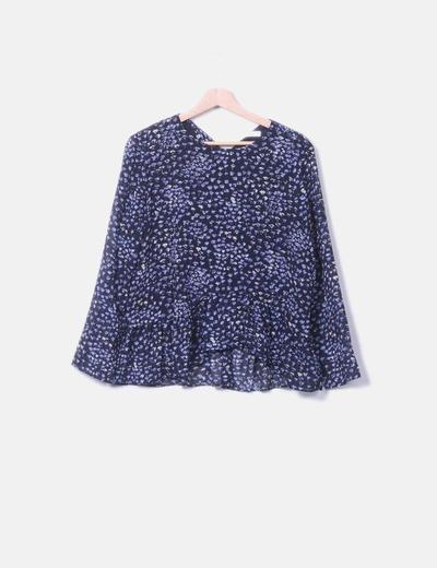 Blusa negra estampado azul