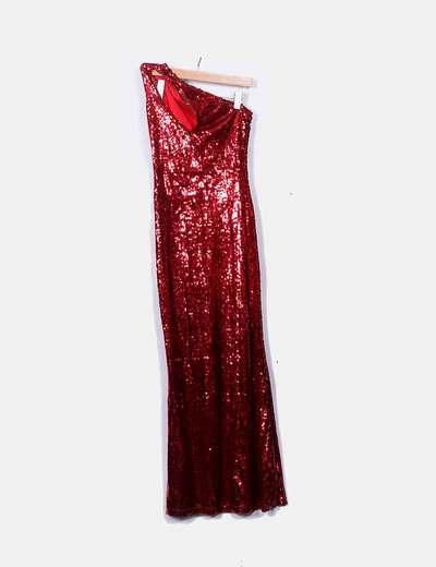 Maxi vestido rojo de paillettes