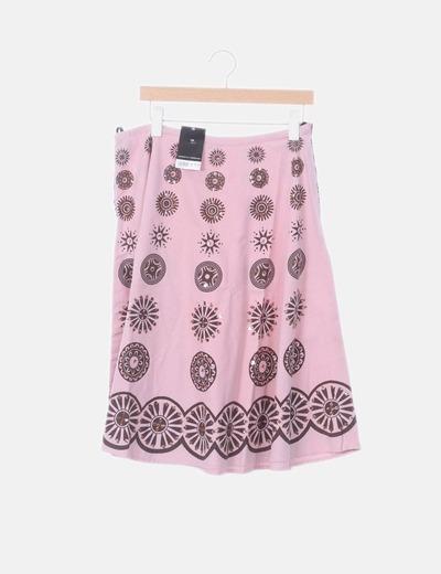 Falda midi rosa lentejuelas doradas