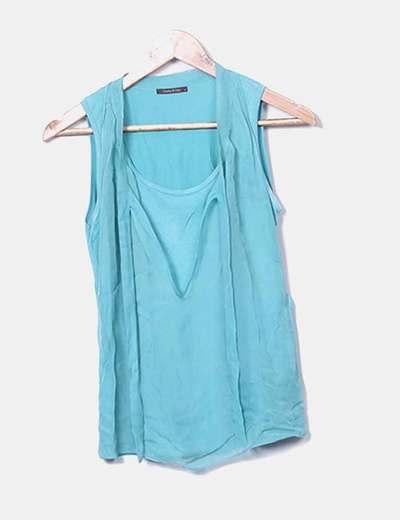 Blusa combinado gasa turquesa