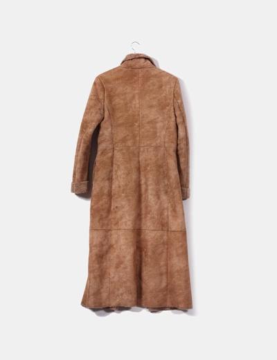 Zara Abrigo largo marrón de ante con forro interior (descuento 82%) -  Micolet 1bd322d9e7da