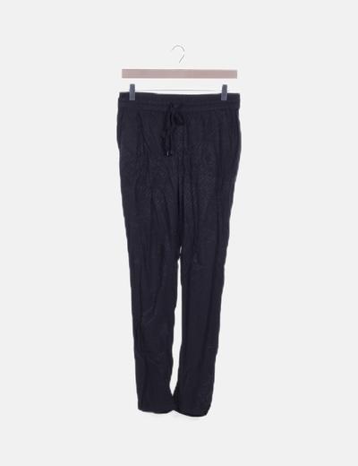 Pantalón negro combinado fluido