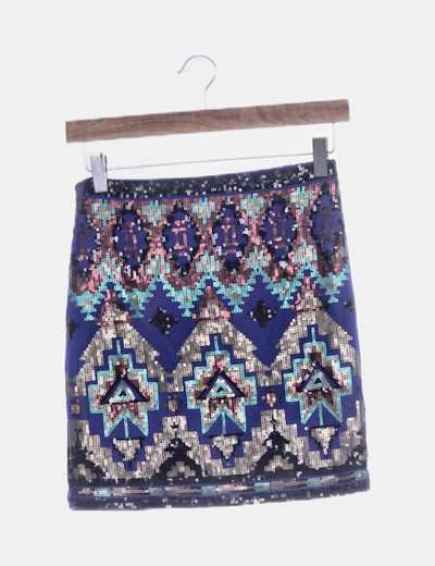 Falda azul paillettes