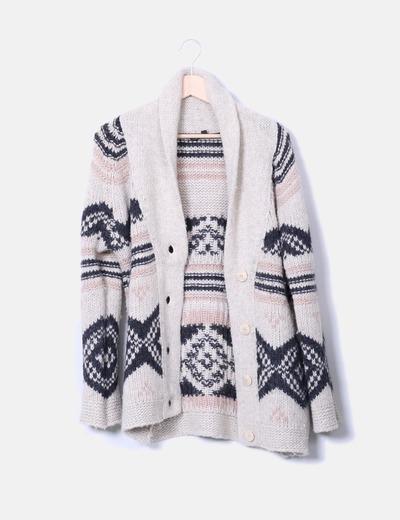 Cardigan de lana beige con estampado Topshop