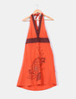 Vestido naranja y marrón con estampado y lentejuelas NoName