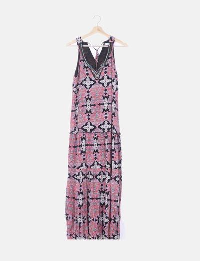 Maxi vestido floral con abalorios