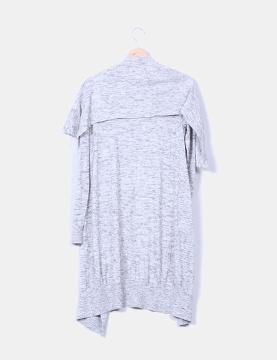 Maxi cardigan gris jaspeado