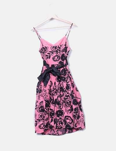 Vestido rosa lazo negro