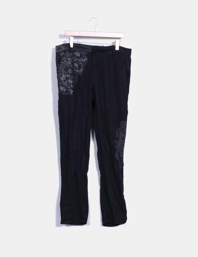 Pantalón negro print floral Desigual