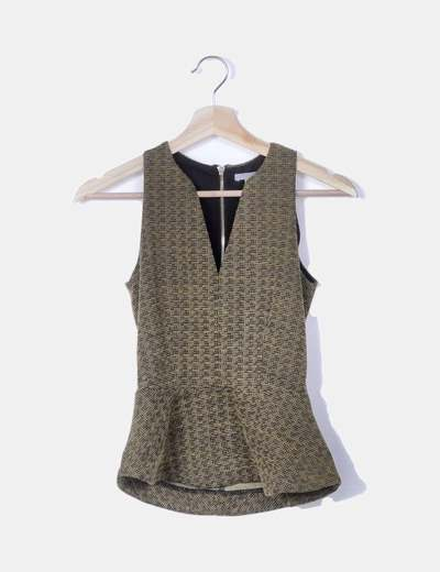 Conjunto peplum tricot mostaza jaspeado