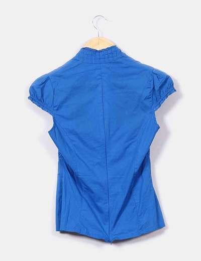 Camisa de cuello mao azul klein