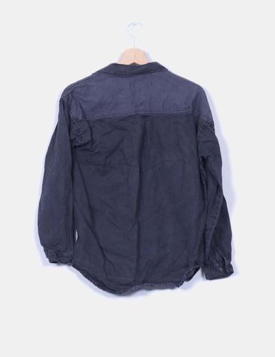 Camisa denim gris efecto desgastado