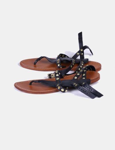 envío directo talla 7 proveedor oficial Sandalias planas negras con pinchos dorados