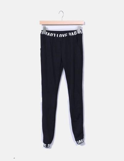 Legging negro con letras y bolsillos NoName