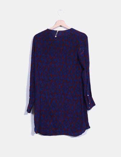 De Zara Azul Vestido Y Granate Pw7xHt