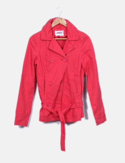 ONLY Trench rouge ceinturés double bouton (réduction 88%) - Micolet 57ee86fdd3e3