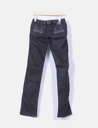 Pantalon vaquero negro recto