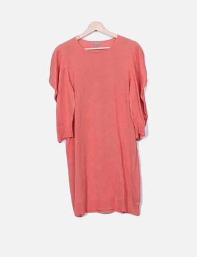 Vestido tricot coral mangas farol