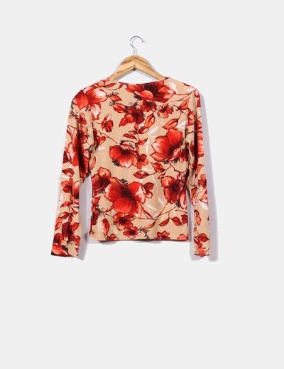 Camiseta camel print floral
