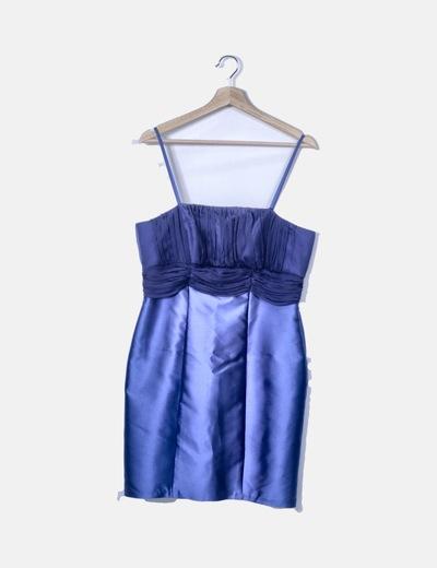 Vestido azul raso drapeado